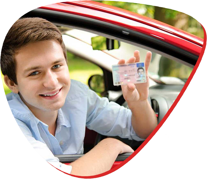 man with driver licence